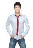 Metrosexual, stattliches chinesisches großes Stück im weißen Hemd Stockfoto