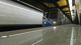 Metrostation Shelepikha - ist eine Station auf der Kalininsko-Solntsevskayalinie der Moskau-Metros stock video footage
