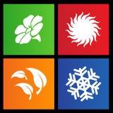 Metrostil fyra säsongsymboler Arkivfoton