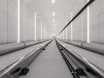 Metrotunnel met licht spoor stock illustratie