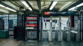 Metrouitgang in New York stock foto