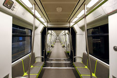 Metrovalencia subway car interior view. Royalty Free Stock Photography