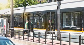 Metrovalencia tram, a public transport system created in 1988 Royalty Free Stock Image