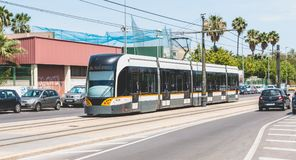 Metrovalencia tram, a public transport system created in 1988 Royalty Free Stock Images