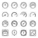 Metrowe ikony Symbole szybkościomierze, manometry, tachometry, etc, royalty ilustracja