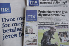 METROXPRESS FREE NEWS PAPER. Kastrup/Copenhagen /Denmark - 05 June 2017. Metroxpress is only free daily newspaper from monday- Friday distibute in bus stops and royalty free stock photography