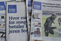 METROXPRESS FREE NEWS PAPER. Kastrup/Copenhagen /Denmark - 05 June 2017. Metroxpress is only free daily newspaper from monday- Friday distibute in bus stops and stock image