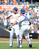 Mets Win!. NY Mets catcher Anthony Recker congratulates pitcher Jeurys Familia after beating the Philadelphia Phillies Stock Images