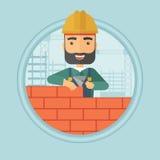 Metselaar de vectorillustratie van de de bouwbakstenen muur stock illustratie