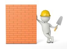 Metselaar die tegen een nieuwe bakstenen muur leunen royalty-vrije illustratie
