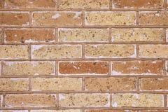 Metselwerk van bruine baksteen met witte efflorescentie wordt gemaakt die stock foto