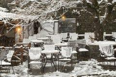 Metsovo Ioannina Grecia, nevicante Fotografia Stock Libera da Diritti