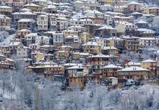 Metsovo ioannina Grekland som snöar arkivfoto