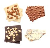 Metta con differenti generi di cioccolato e di dadi deliziosi fotografia stock libera da diritti