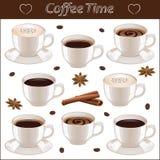 Metta con differenti tazze di caffè Immagini Stock Libere da Diritti