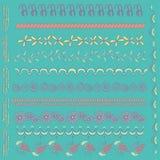 Metta con gli elementi disegnati a mano colorati di progettazione Immagini Stock