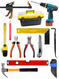 Metta con gli strumenti dei lavori di costruzione isolati su bianco immagine stock libera da diritti