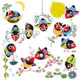 Metta con gli uccelli del fumetto Fotografia Stock Libera da Diritti