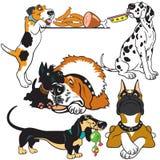 Metta con i cani del fumetto Fotografie Stock Libere da Diritti