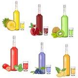 Metta con i liquori della frutta e sciroppa l'illustrazione di vettore royalty illustrazione gratis