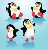Metta con i pinguini divertenti su fondo ghiacciato blu, fumetti per la vittoria Immagine Stock
