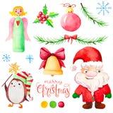 Metta con il carattere di Natale dell'acquerello Fotografia Stock