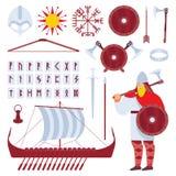 Metta con il carattere di vichingo ed il drakkar medievale della storia, lo sward, il casco, le rune, gli accessori, simboli cult illustrazione vettoriale