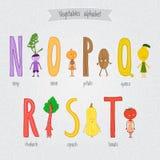 Metta con l'alfabeto divertente delle verdure del fumetto sveglio Fotografia Stock