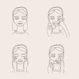 Metta con la giovane donna adorabile del fumetto che prende la cura della suoi pelle e fronte Raccolta di vettore Immagini Stock