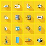 Metta con le icone degli elettrodomestici Fotografia Stock