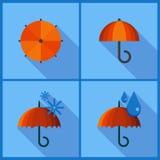 Metta con le icone dell'ombrello Immagini Stock Libere da Diritti