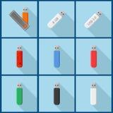 Metta con le icone della chiavetta USB Immagine Stock Libera da Diritti