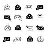 Metta con le icone della posta Immagini Stock