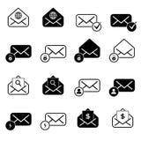 Metta con le icone della posta Fotografia Stock