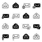 Metta con le icone della posta Fotografia Stock Libera da Diritti