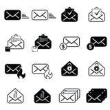 Metta con le icone della posta Immagine Stock