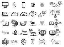 Metta con le icone di sicurezza di Internet Fotografia Stock Libera da Diritti