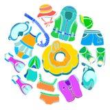 Metta con le merci di nuoto per i bambini su fondo bianco Immagine Stock Libera da Diritti