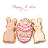 Metta dai biscotti di Pasqua Fotografia Stock