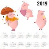 Metta dai maiali svegli Porcellini dolci Caratteri divertenti del bambino del fumetto sveglio Un simbolo cinese di 2019 nuovi ann royalty illustrazione gratis