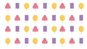 Metta degli alberi d'avanguardia modellano l'illustrazione disegnata a mano di stile per fondo e la stampa illustrazione vettoriale