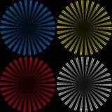 Metta degli ambiti di provenienza dalle palle che consistono di piccole palle colorate sotto forma di raggi illustrazione vettoriale