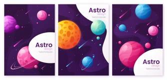 Metta degli ambiti di provenienza futuristici del fumetto dello spazio cosmico, le coperture, broch illustrazione di stock