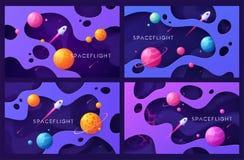 Metta degli ambiti di provenienza variopinti dello spazio cosmico del fumetto, le progettazioni, le insegne, materiali illustrati illustrazione vettoriale