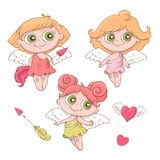Metta degli angeli svegli del fumetto per il giorno del biglietto di S. Valentino s con gli accessori illustrazione vettoriale