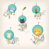 Metta degli animali da allevamento che portano le tute spaziali che galleggiano nello spazio cosmico illustrazione vettoriale