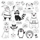 Metta degli animali e degli elementi differenti di natale Saluti differenti Illustrazione di vettore illustrazione vettoriale