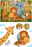 Metta degli animali svegli della foresta nei retro colori d'annata royalty illustrazione gratis