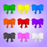 Metta degli archi del regalo del fumetto isolati su fondo viola Archi colorati per il compleanno del regalo, arco di seta di Nata illustrazione di stock