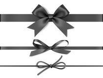 Metta degli archi neri decorativi con i nastri orizzontali isolati su fondo bianco Illustrazione di vettore fotografia stock